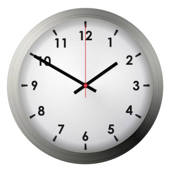 Analog metal wall clock isolated on white background.