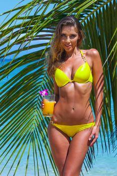 Woman in yellow bikini with cocktail near palm tree at sea beach