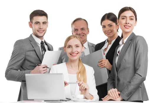 Group of business people office workers isolated on white background