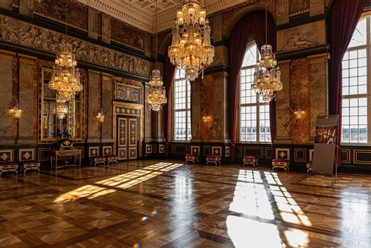 Interiors of royal halls in Christiansborg Palace in Copenhagen, Denmark, imperial room with antique furnishings