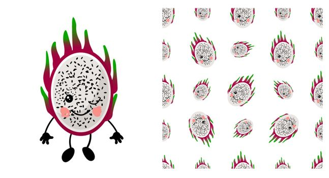 pitaya. Exotic fruit. citrus character and seamless pattern. Vector illustration. dragon fruit