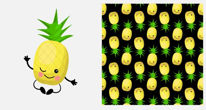 a pineapple. Exotic fruit. citrus character and seamless pattern. Vector illustration