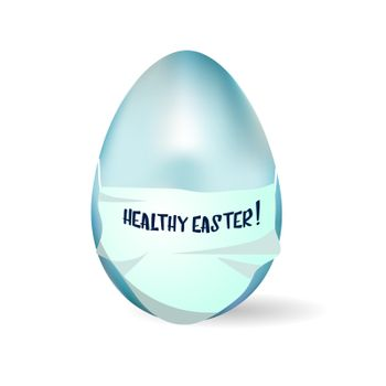 Easter card Healthy Easter. Realistic egg in a medical mask. Vector illustration isolated on a white background.