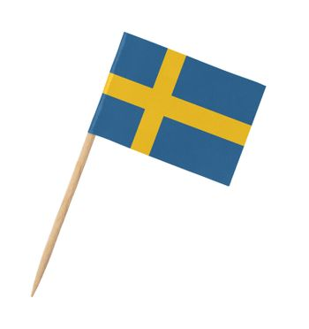 Small paper Swedish flag on wooden stick