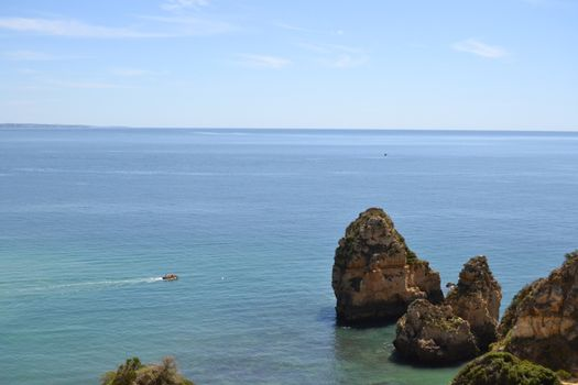 Views of the coastline from the cliff on a sunny summer day