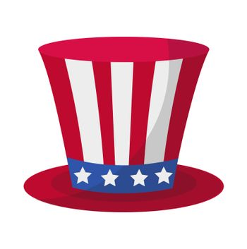 Cylinder hat icon flat style. 4th july concept. Isolated on white background. illustration