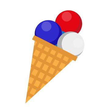 Ice cream icon, flat style. 4th july concept. Isolated on white background. illustration