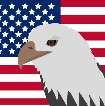 Eagle on the background of the American flag icon, flat style. 4th july concept. illustration