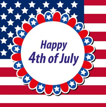 Happy 4th july greeting card, poster. American Independence Day template for your design. illustration