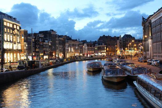 Dusk photography on an Amsterdam canal