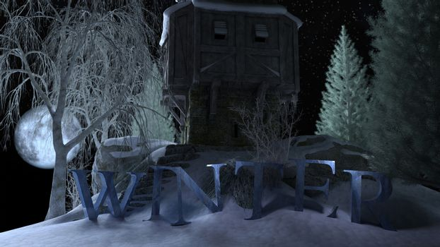 Winter cottage on the hill against moonlight sky with text - 3d rendering