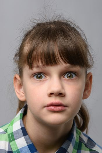Portrait of ten year old girl in shock with bulging eyes, European appearance, close-up