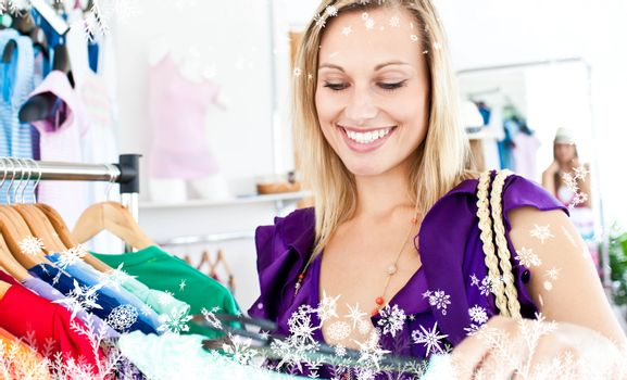 Composite image of woman selecting item