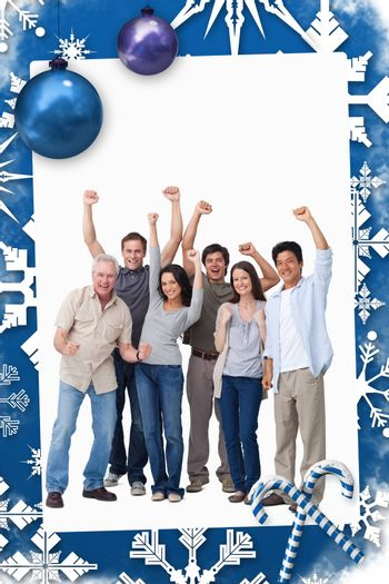 Cheering group of people against christmas frame