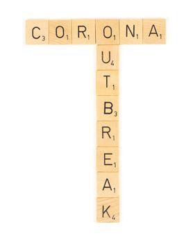 Corona outbreak scrable letters