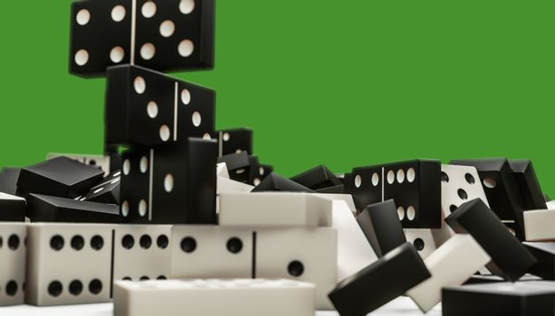 3d illustration of domino pieces isolated on green background