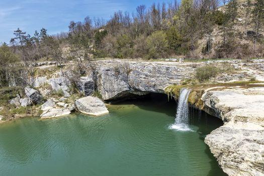 Pazincica river and waterfall Zarecki krov in springtime, Istria, Croatia