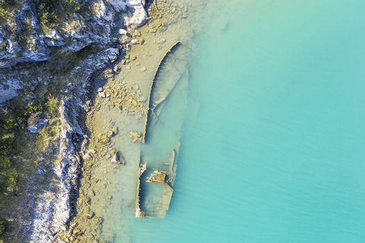an aerial view of the sinking German ship Fritz from World War II in the bay of Salamustica in the Rasa bay, Istria, Croatia
