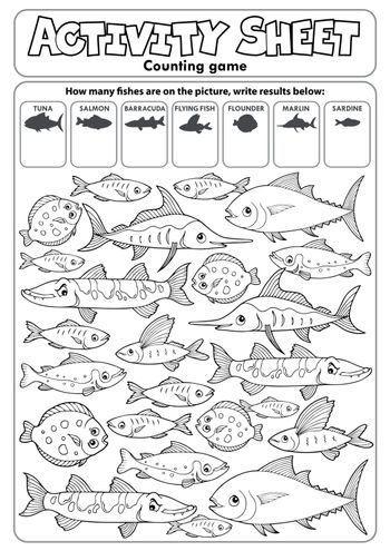 Activity sheet counting game topic 3 - eps10 vector illustration.