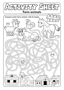 Activity sheet farm animals 1 - eps10 vector illustration.