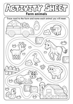 Activity sheet farm animals 2 - eps10 vector illustration.