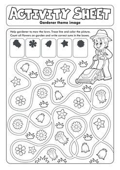 Activity sheet gardener theme 1 - eps10 vector illustration.