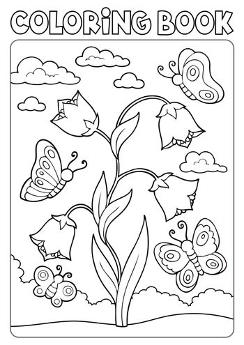 Coloring book bellflower and butterflies - eps10 vector illustration.