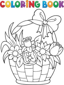 Coloring book flower basket theme 1 - eps10 vector illustration.