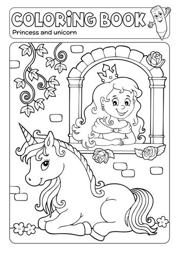 Coloring book princess and unicorn 1 - eps10 vector illustration.