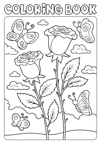 Coloring book roses and butterflies - eps10 vector illustration.