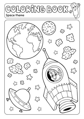 Coloring book space theme 3 - eps10 vector illustration.