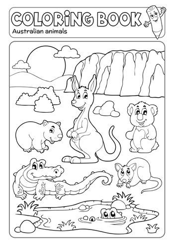 Coloring book various Australian animals - eps10 vector illustration.