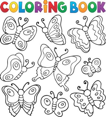 Coloring book various butterflies theme 1 - eps10 vector illustration.