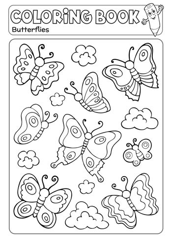 Coloring book various butterflies theme 2 - eps10 vector illustration.
