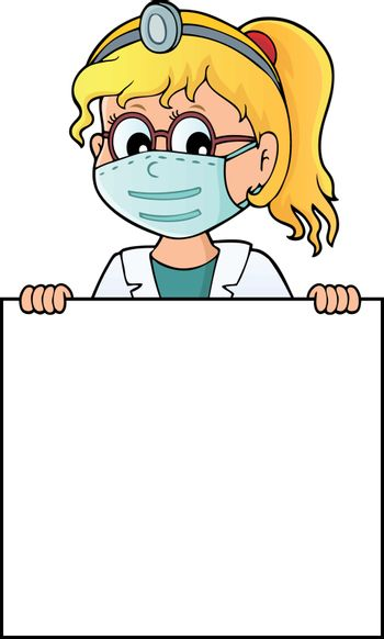 Doctor holding blank panel topic image 2 - eps10 vector illustration.