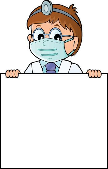Doctor holding blank panel topic image 1 - eps10 vector illustration.