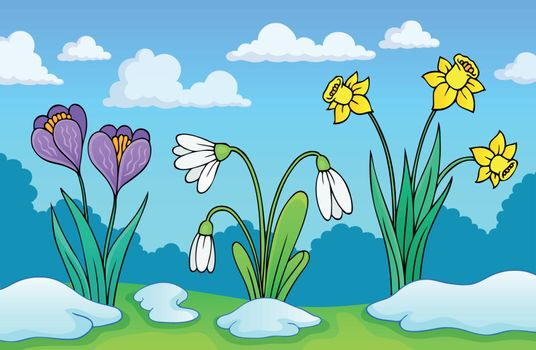 Early spring flowers theme image 1 - eps10 vector illustration.