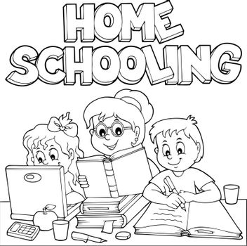 Home schooling monochrome image 1 - eps10 vector illustration.