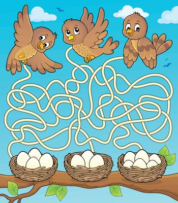 Maze 34 with birds and nests - eps10 vector illustration.