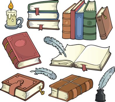 Old books theme set 1 - eps10 vector illustration.