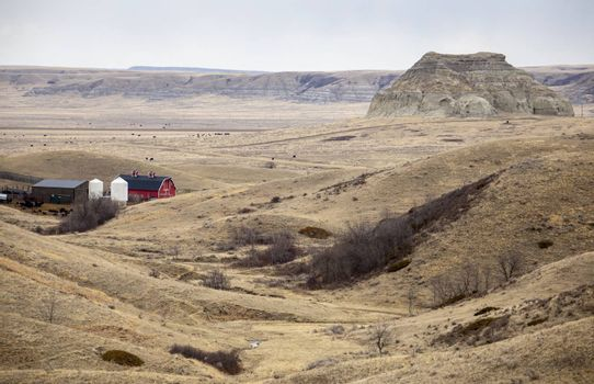 Big Muddy Saskatchewan Prairie Rurual Scene Panorama Badlands