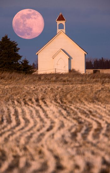 Full Pink Moon and Country Church Saskatchewan