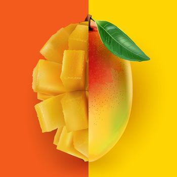 Half a whole mango combined with a half diced mango.
