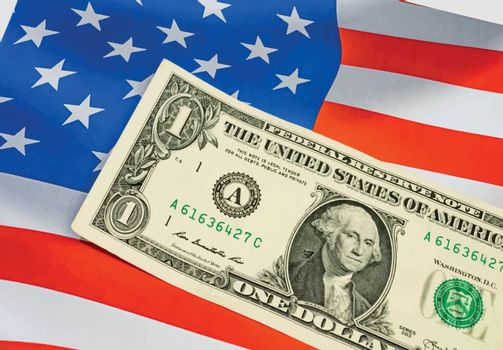 close up US dollar banknotes on flag background.