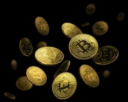 Gold coin Bitcoin levitates on a black background.