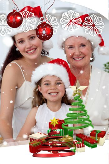 Daughter mother and grandmother baking Christmas sweets against snow falli