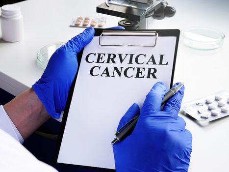 Cervical cancer diagnosis on the medical form.