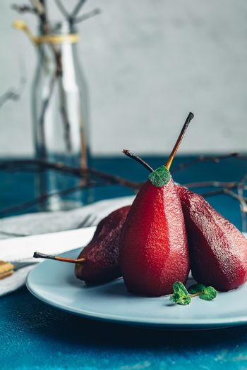 Simple Paleo style dessert pear poached in red wine