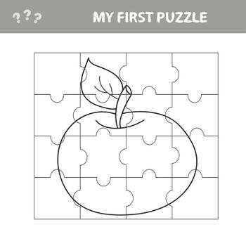 Puzzle game for kids. Education developing worksheet - apple