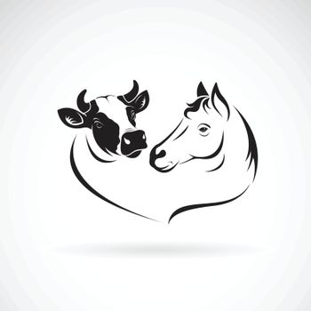 Vector of horse head and cow head design on a white background. Animals farm. Easy editable layered vector illustration.